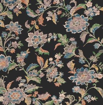 江戸更紗の文様は、人物、鳥、草花など図案化して、トーンは渋く、エキゾチックな感じがするものが多い。