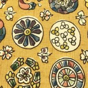 ハギレセール1 更紗丸紋黄色地 30cm単位