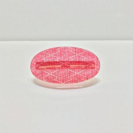 バレッタ 楕円 小紋松菱赤