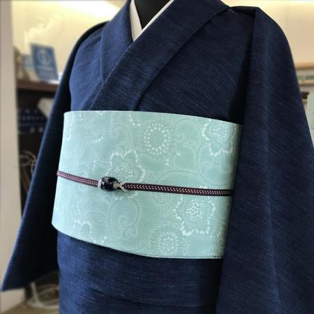 半巾帯 小紋菊色々(うすミントグリーン)