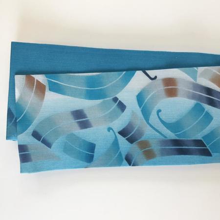 半巾帯 リボン柄にボカシ(青)