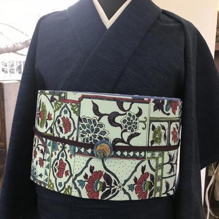 半巾帯 更紗型染裂取(青)綿麻