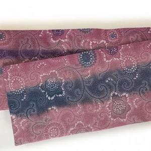 半巾帯 小紋菊色々(ピンク)