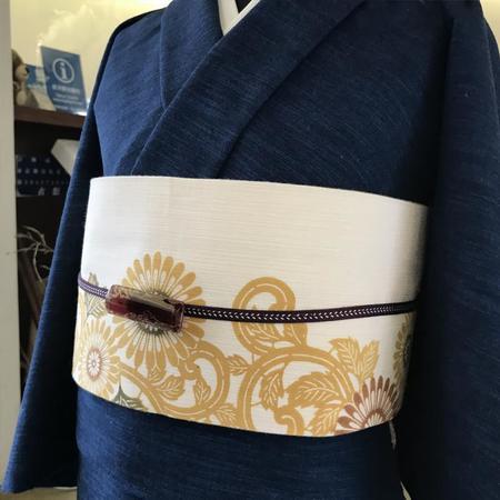 半巾帯 伊勢菊(カラシ)