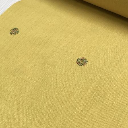 二葉苑浴衣 更紗型染め 丸紋(カラシ)