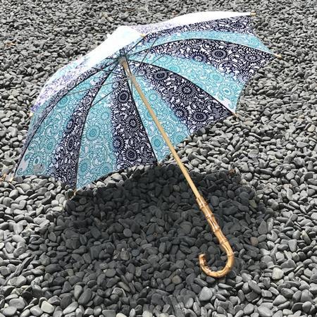 注染手ぬぐい生地使用 日傘(伊勢菊・青×ターコイズ)