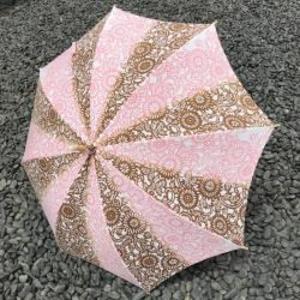 現品限り30%off! 注染手ぬぐい生地使用 日傘(伊勢菊・ピンク×茶)