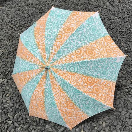 注染手ぬぐい生地使用 日傘(伊勢菊・黄×ミントグリーン)