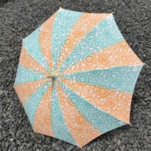現品限り30%off! 注染手ぬぐい生地使用 日傘(伊勢菊・黄×ミントグリーン)