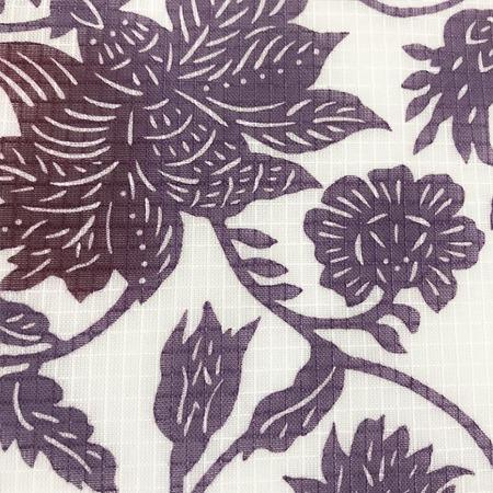 二葉苑浴衣 型染 大唐草(紫)