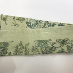 半巾帯 更紗型染小千谷(黄緑)麻