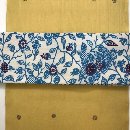 半巾帯 江戸紅型ザクロ柄(青)綿麻