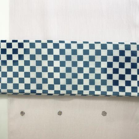 半巾帯 市松(紺×白)綿
