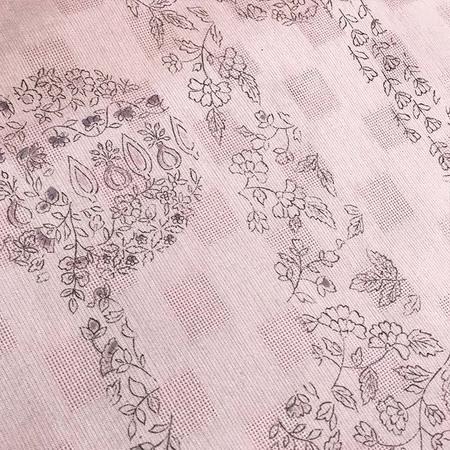 二葉苑浴衣 更紗型染め 立涌に丸(ピンク)