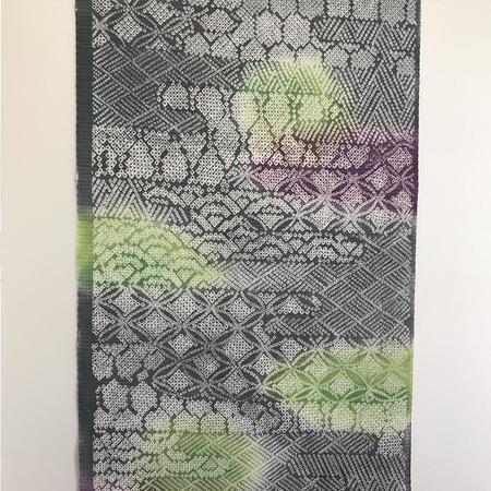 二葉苑浴衣 型染七宝疋田(灰、紫、黄緑)
