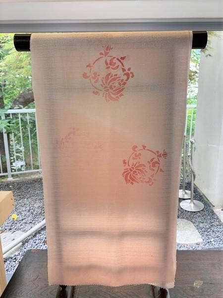 夏の帯揚げ ピンク型染め