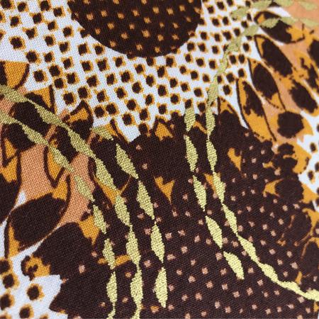 ささわガーナ生地半幅帯3ひまわり オレンジ×白