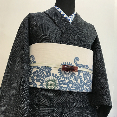 二葉苑浴衣 裂取江戸小紋(黒)
